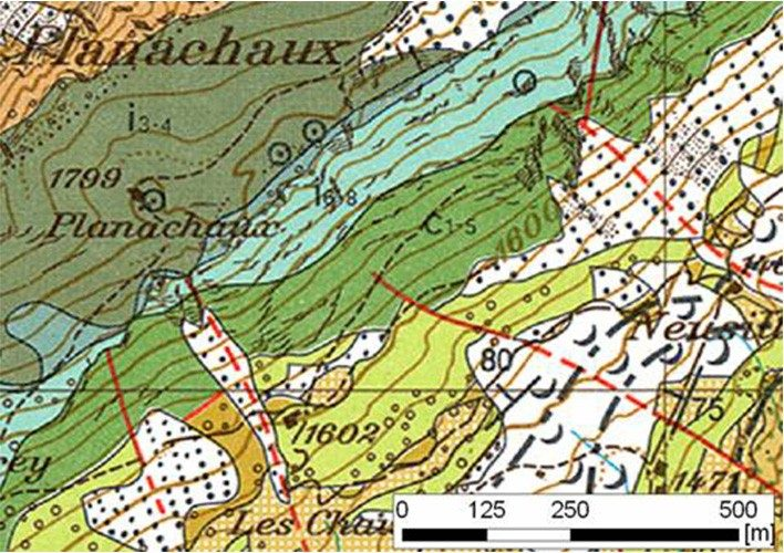 Excerpt from the Geological Atlas of Switzerland, Les Mosses sheet