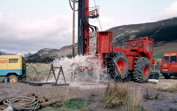 Drilling of a borehole for a groundwater well