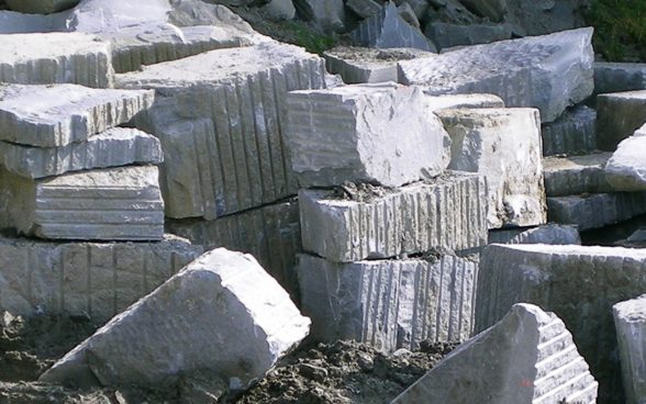 Freshly quarried sandstone blocks
