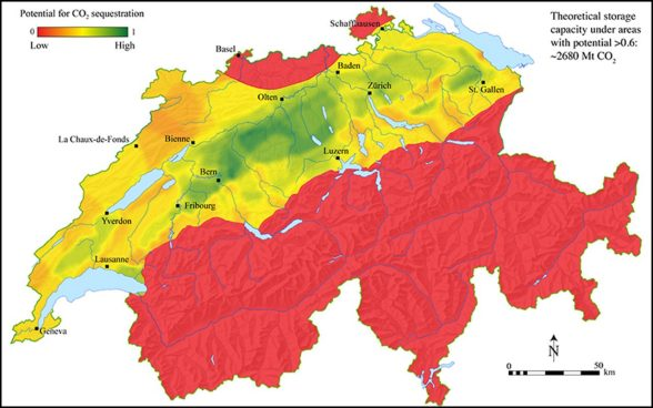 Estimation approximative du potentiel de stockage du CO2 en Suisse