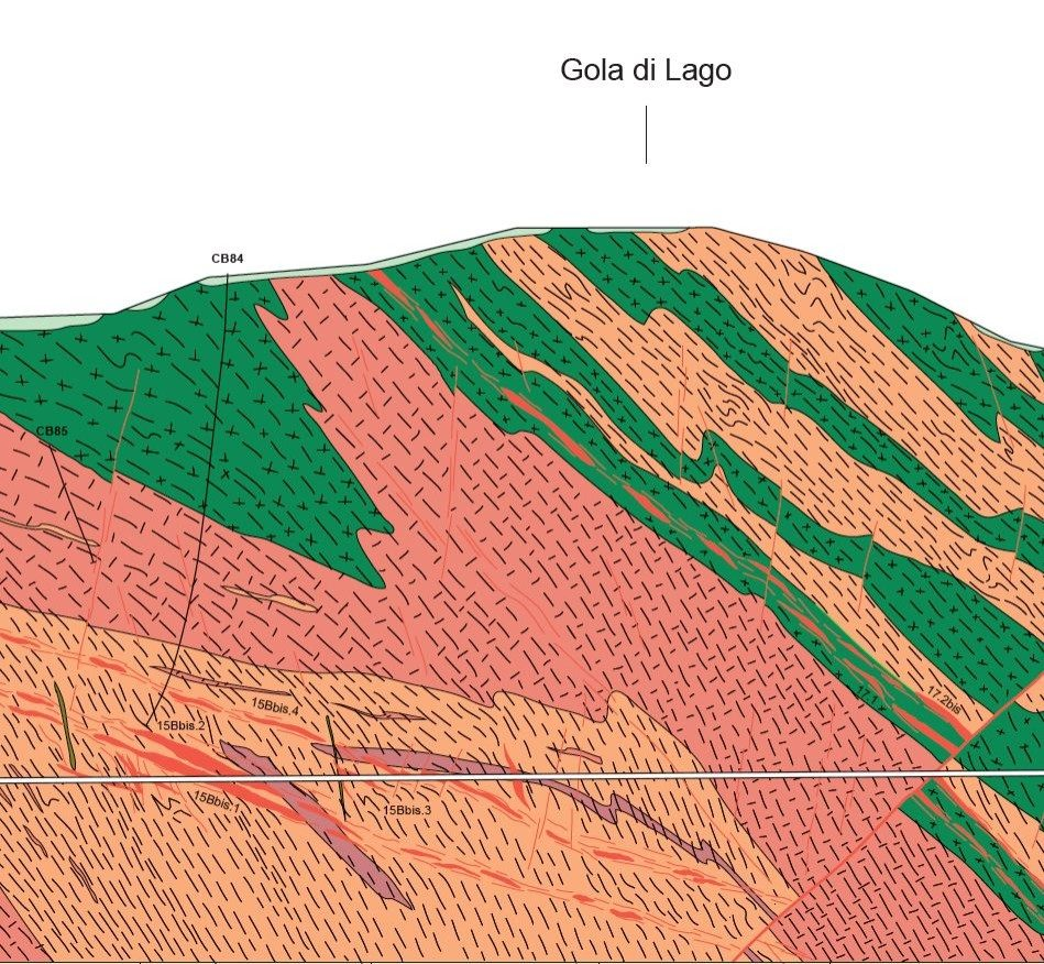 Geological profile at the Ceneri